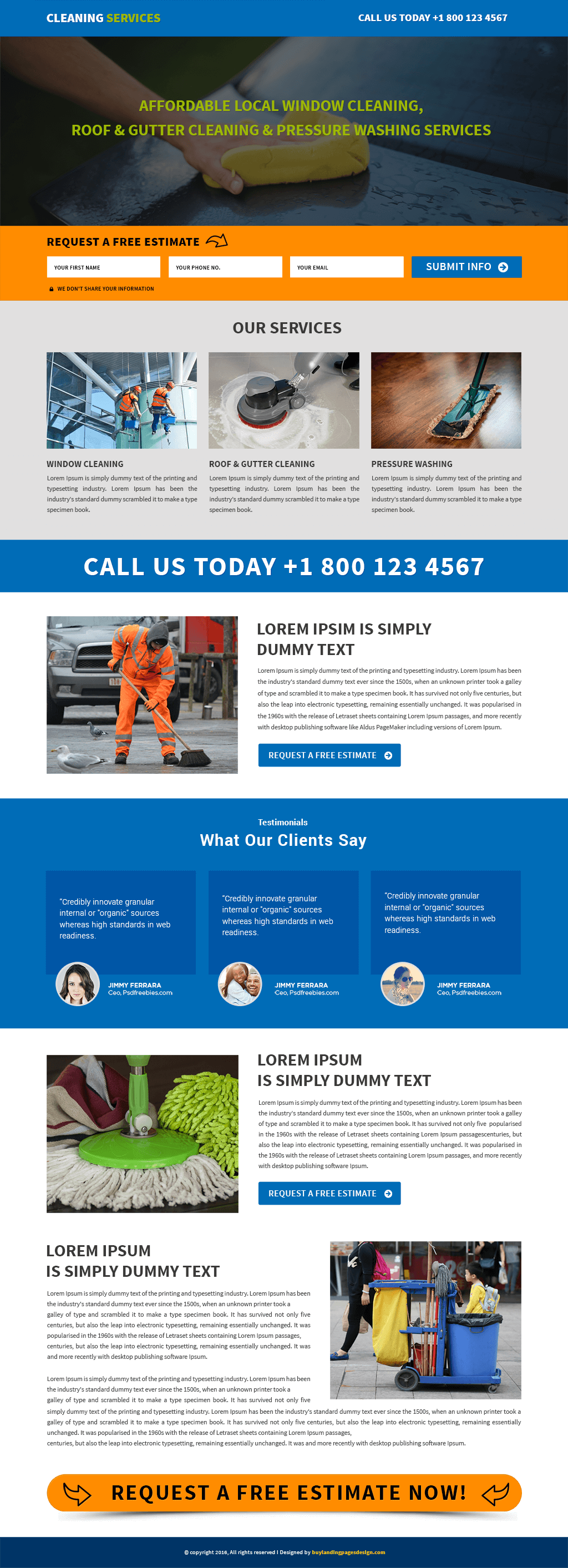 Cleaning Services responsive landing page template
