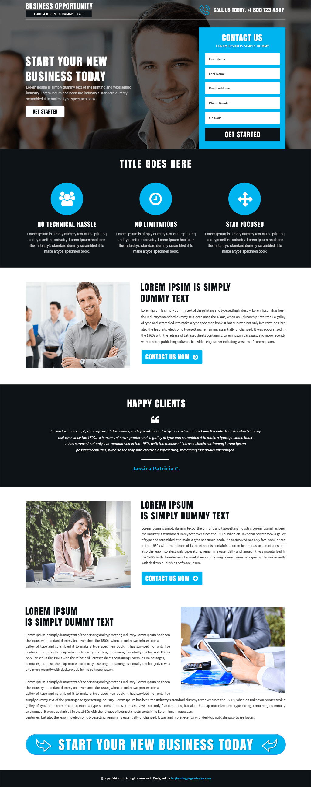 Business Opportunity responsive landing page template