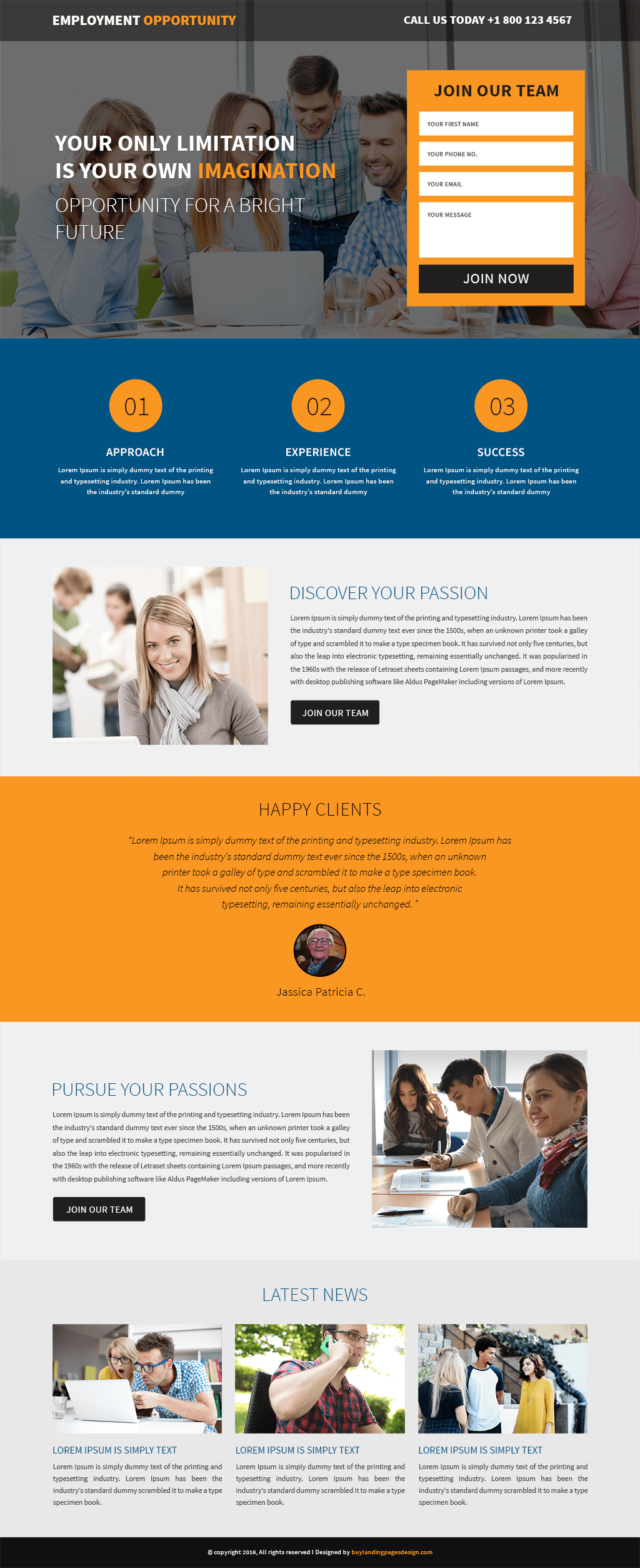Employment Opportunity responsive landing page template