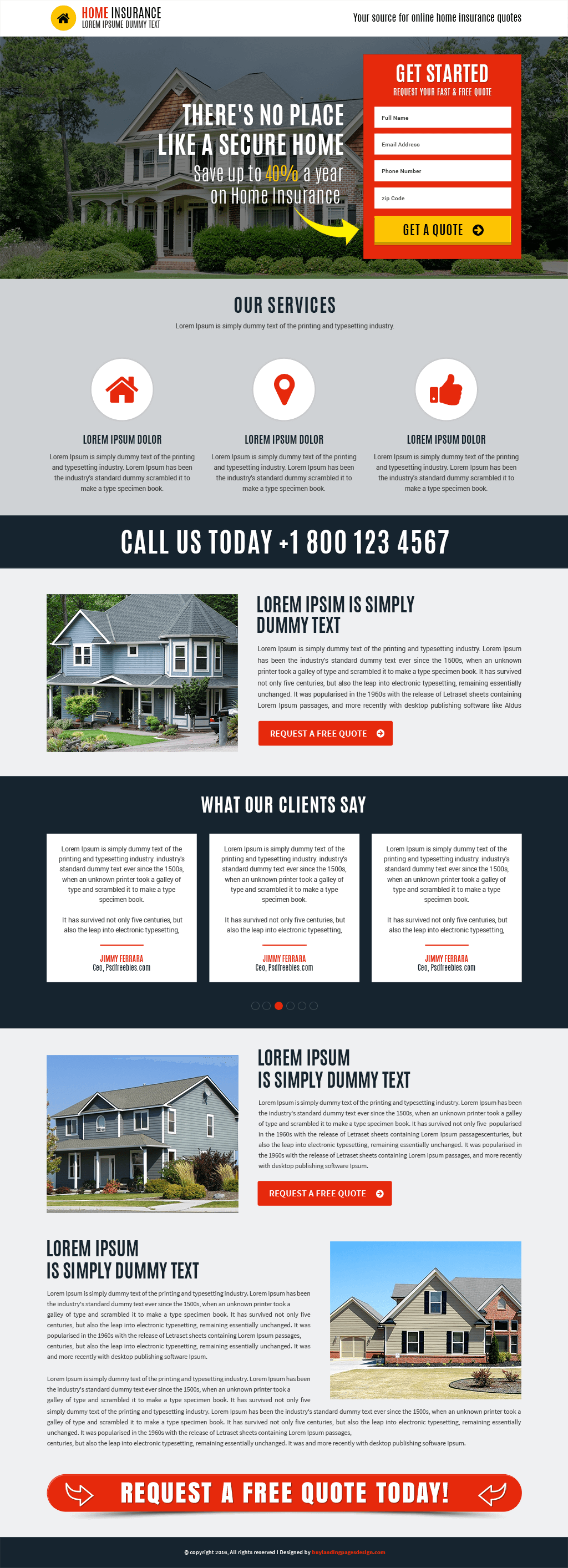 Home Insurance Responsive Landing Page Template
