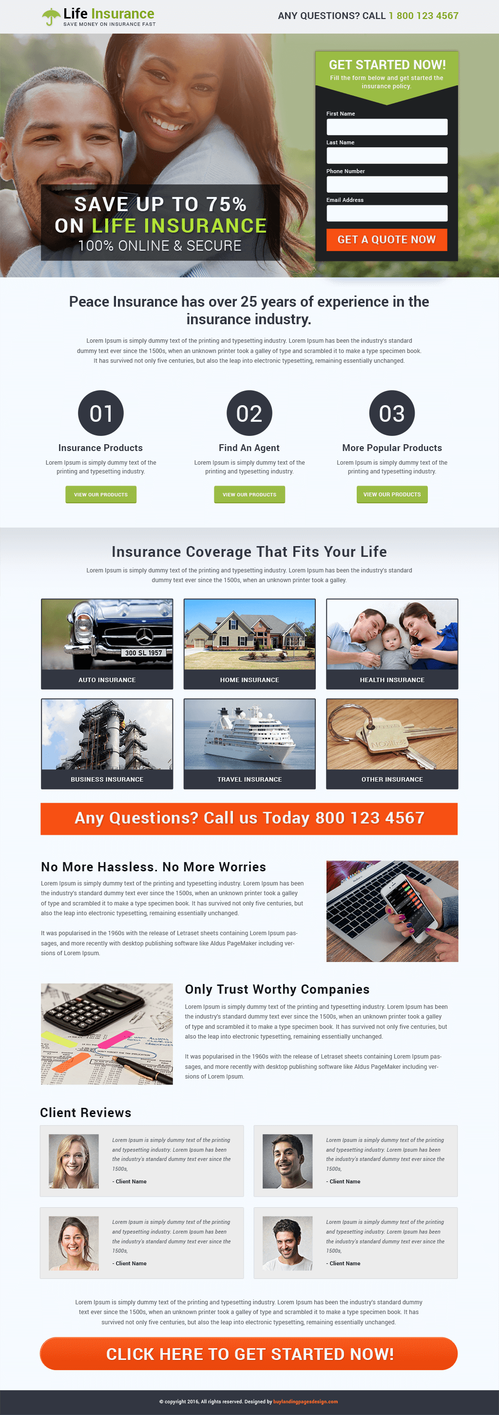Life Insurance Responsive Landing Page Template