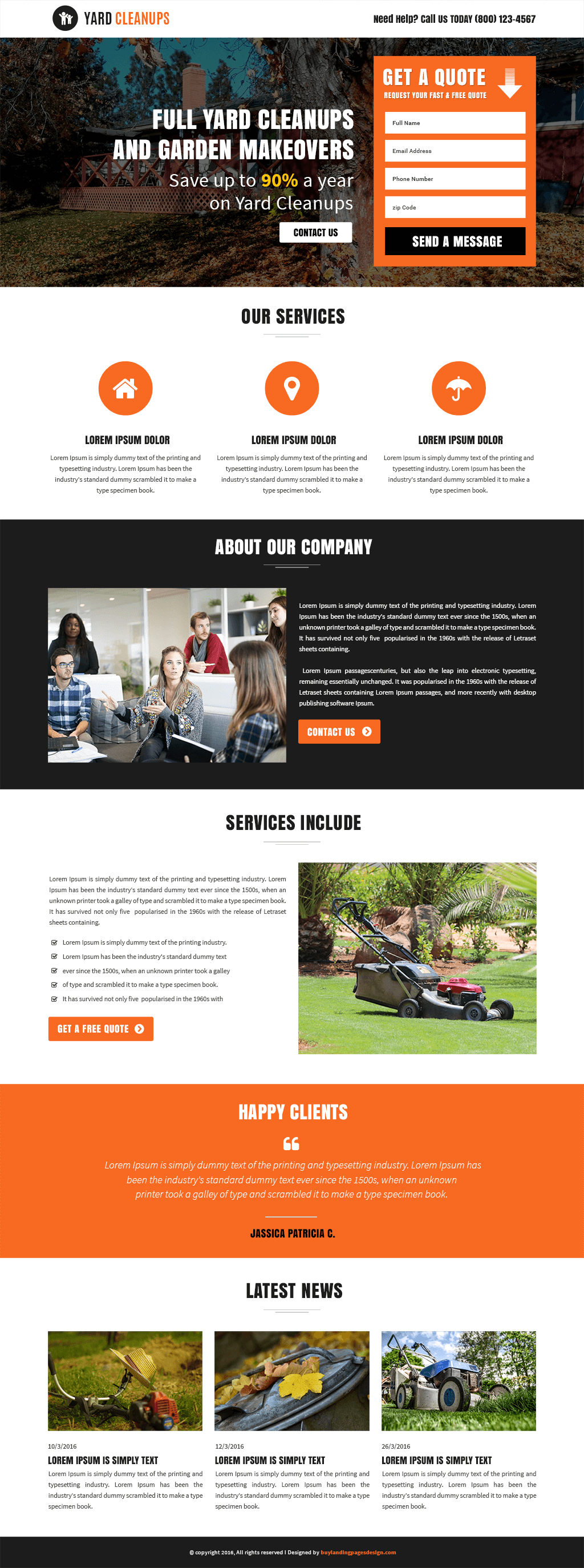 Yard Cleanups Service responsive landing page template
