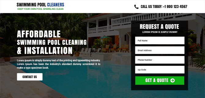 Swimming Pool Installation Service : Swimming pool cleaning services template buy landing