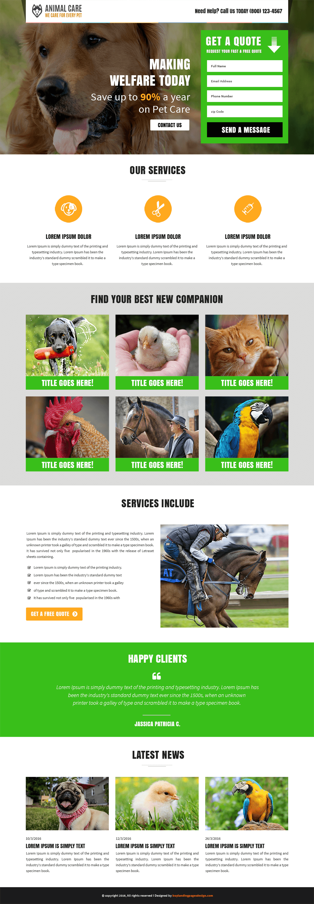 Animals and Pets care responsive landing page template