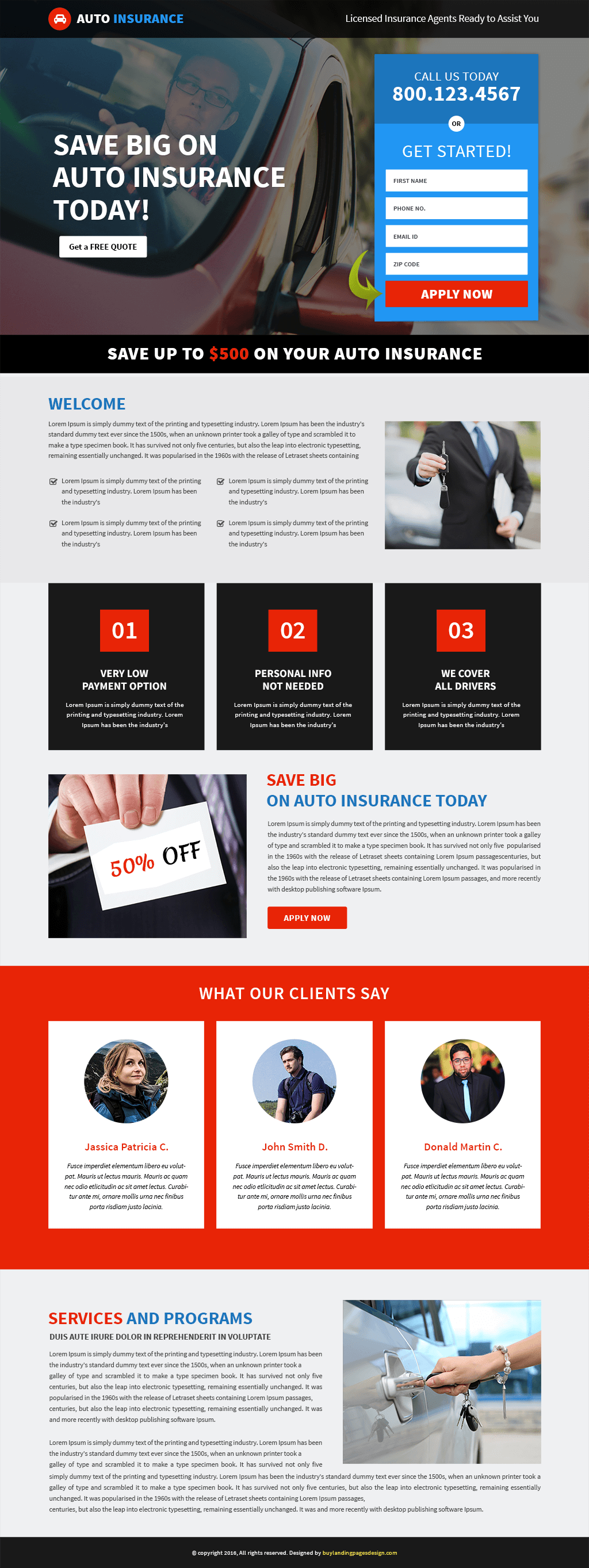 Auto Insurance Responsive Landing Page Template