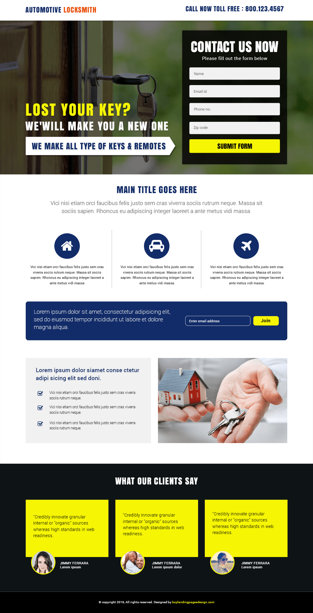 Automotive Locksmith Responsive Landing Page Template
