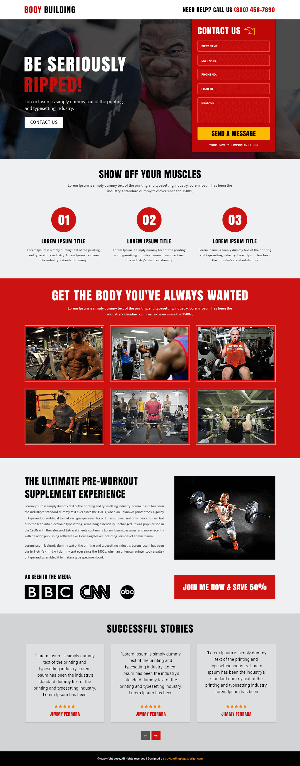 Body Building responsive landing page template
