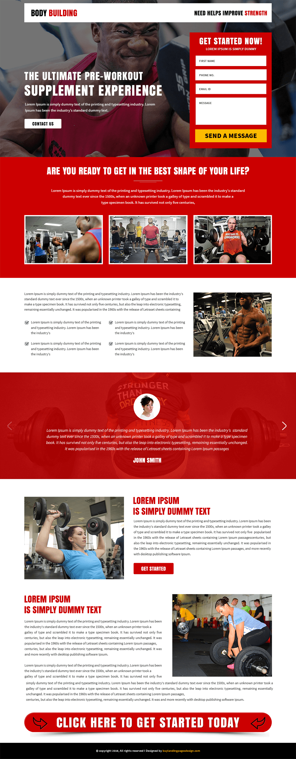 Body Fitness responsive landing page template