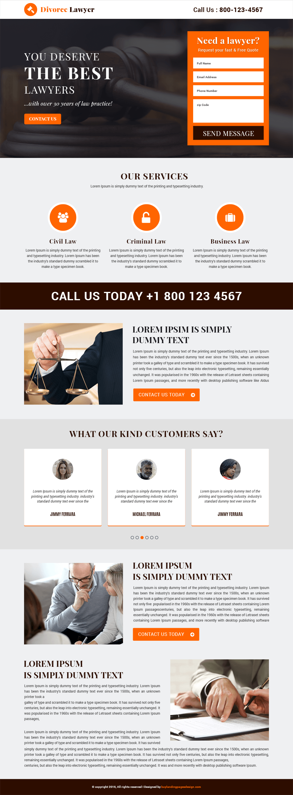 Divorce Lawyer Responsive Landing Page Template