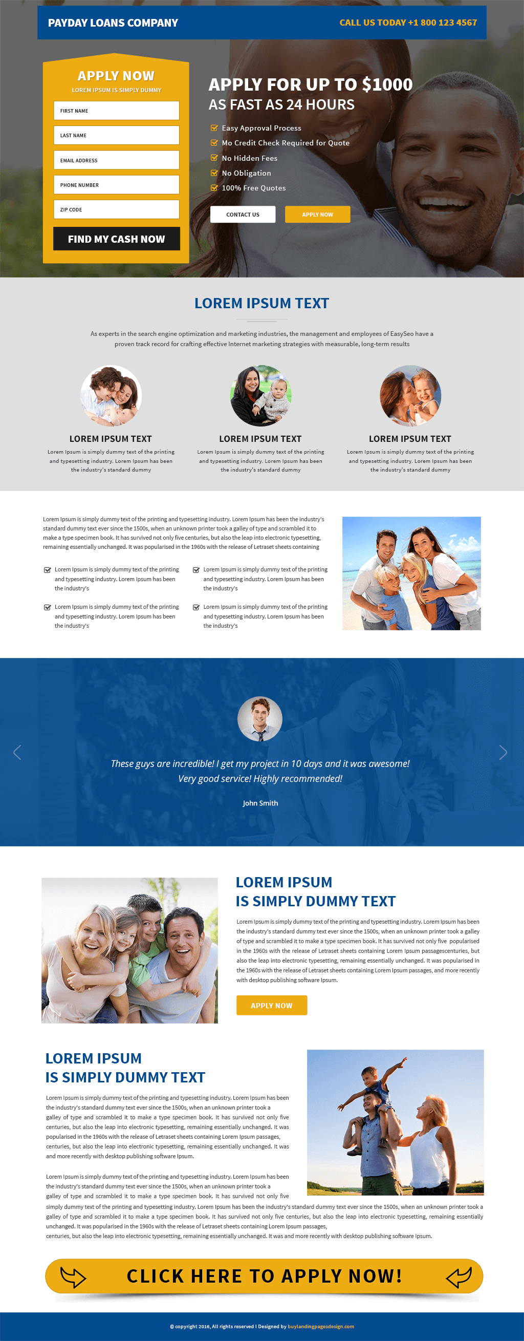 Payday Loans Responsive Landing Page Template