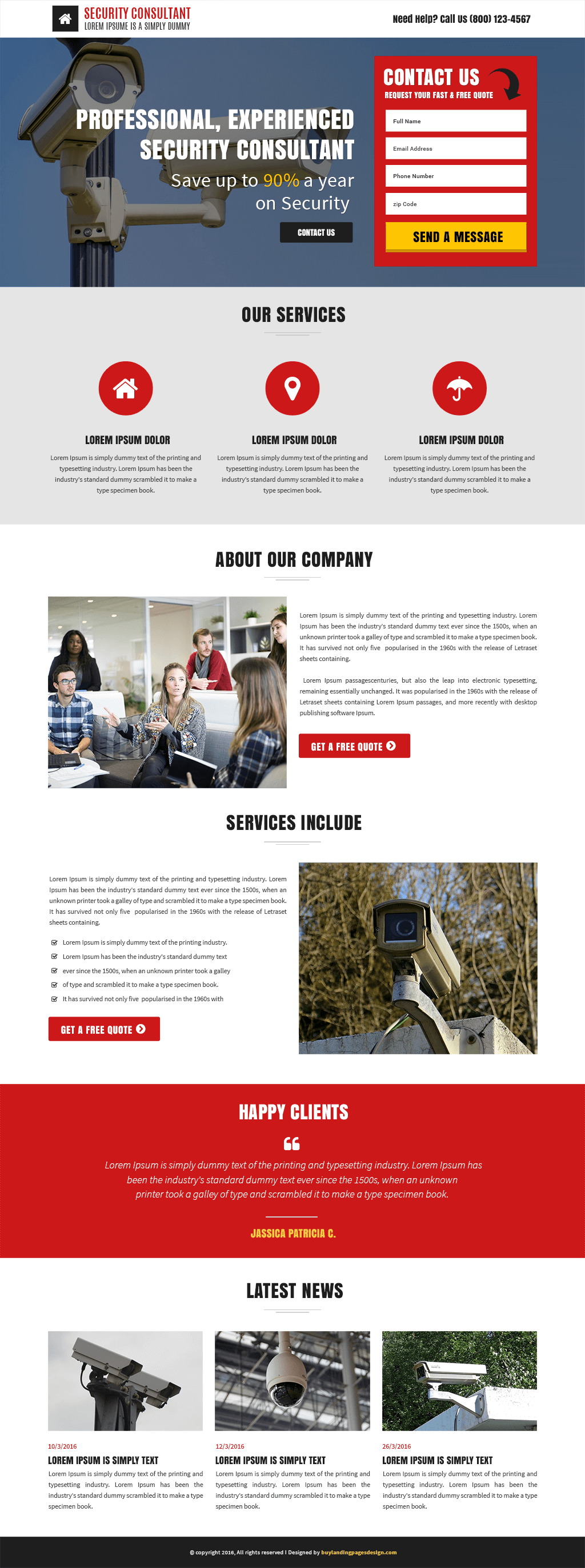 Security Services Responsive Landing Page Template