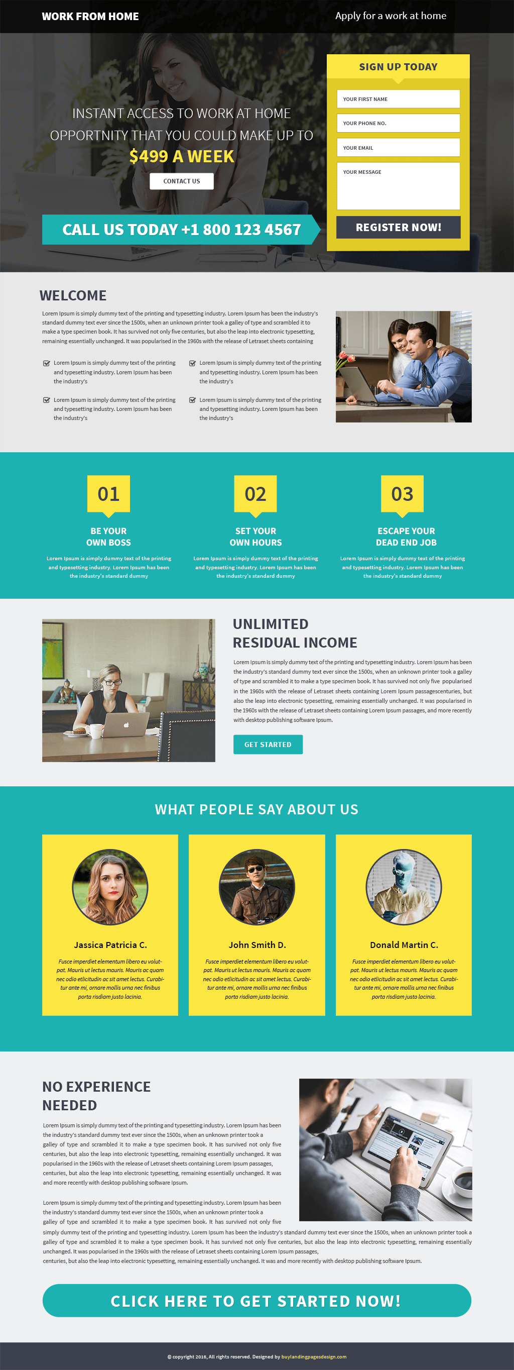 Work From Home Responsive Landing Page Template