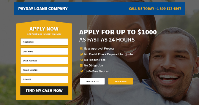 Best Responsive Payday Loans Template - Buy Landing Pages Design