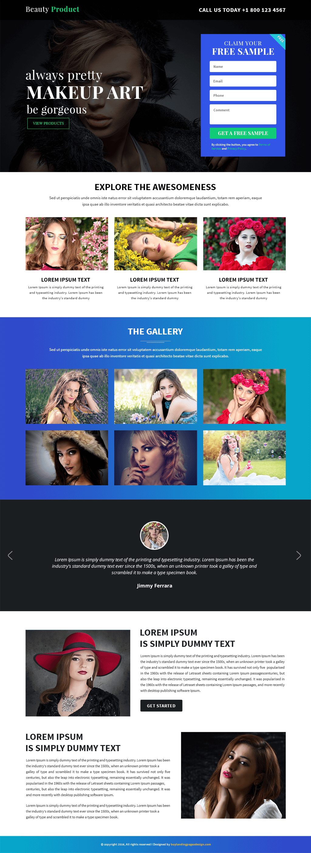 Responsive Beauty Product Landing Page Design Template