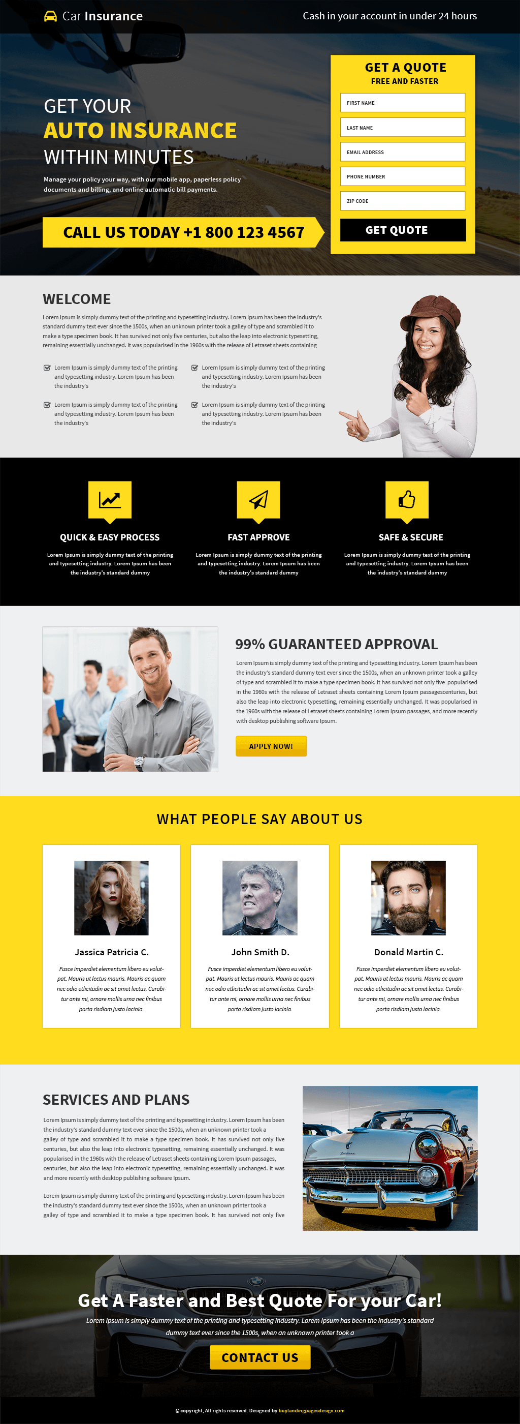 Responsive Car Insurance Landing Page Design Template