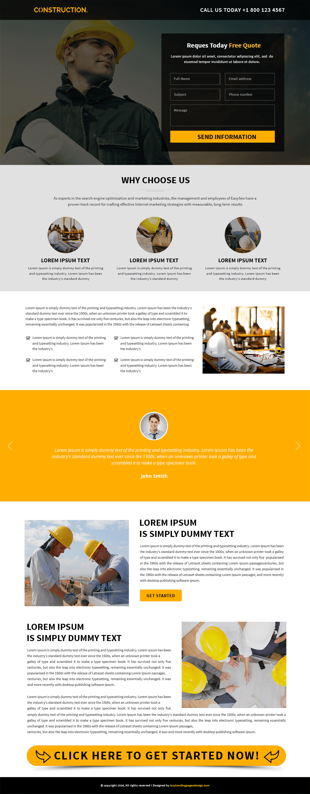Responsive Construction Service Landing Page Design Template