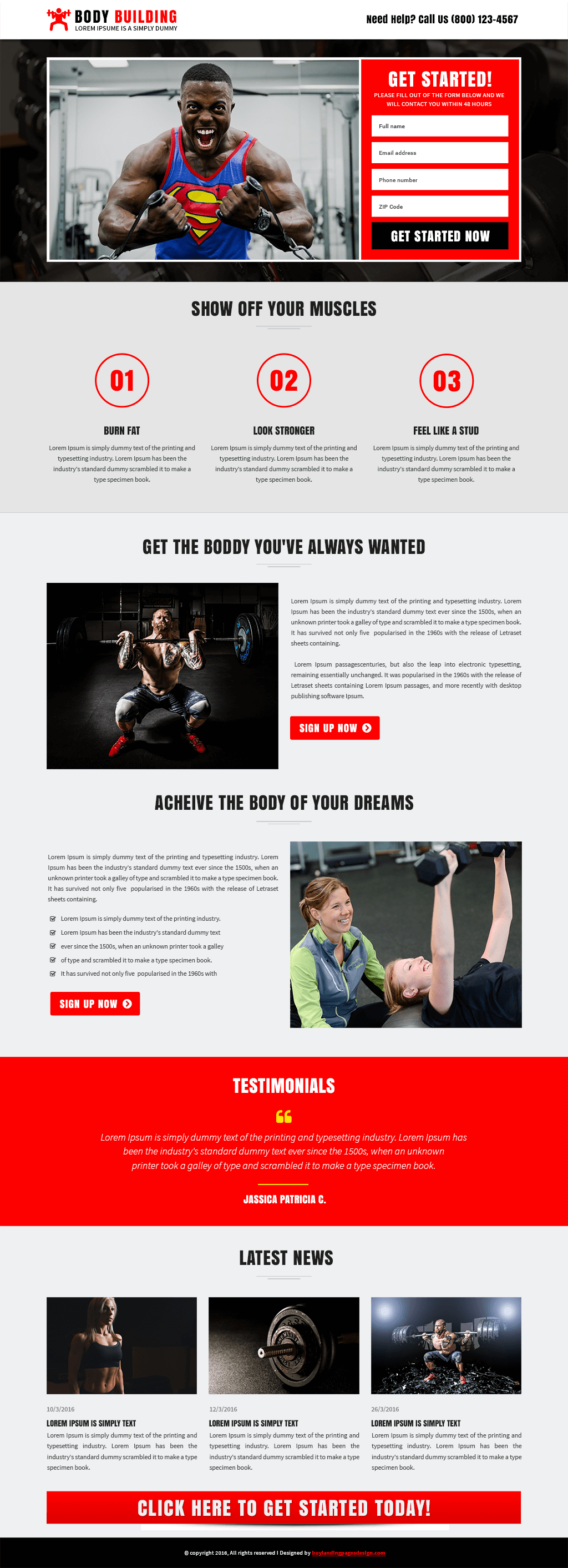 Responsive Fitness Center Landing Page Design Template