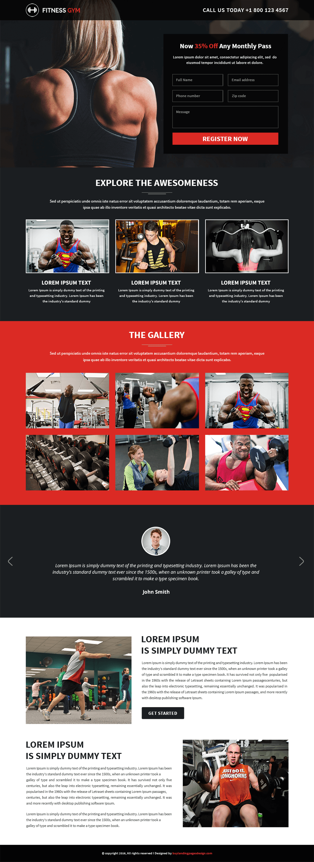 Responsive Fitness Gym Landing Pages Design Template