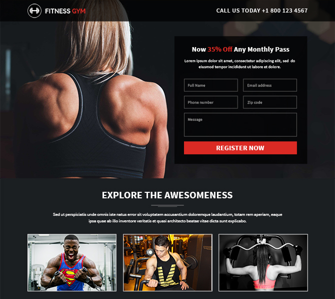 Professional responsive fitness gym buy landing pages design