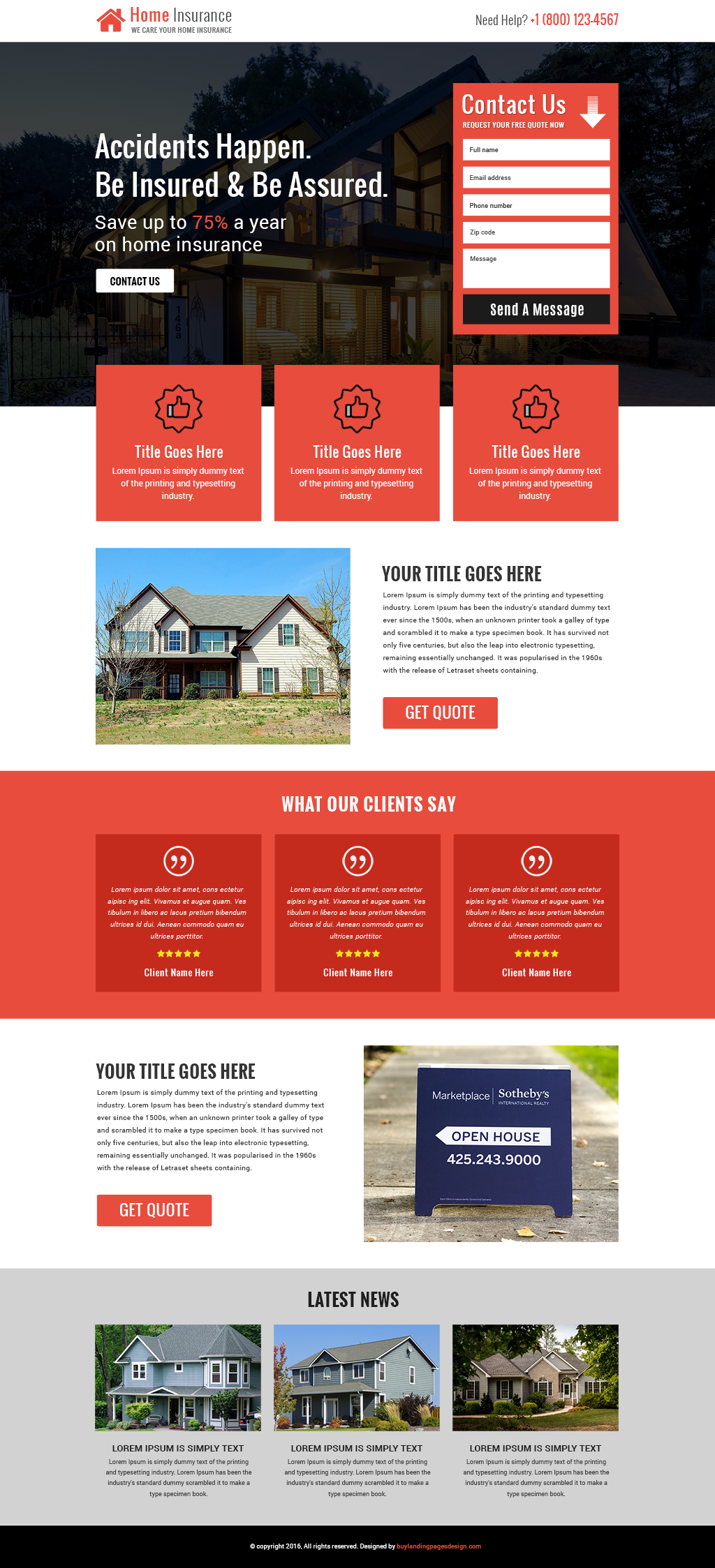 Responsive home insurance service landing page design template