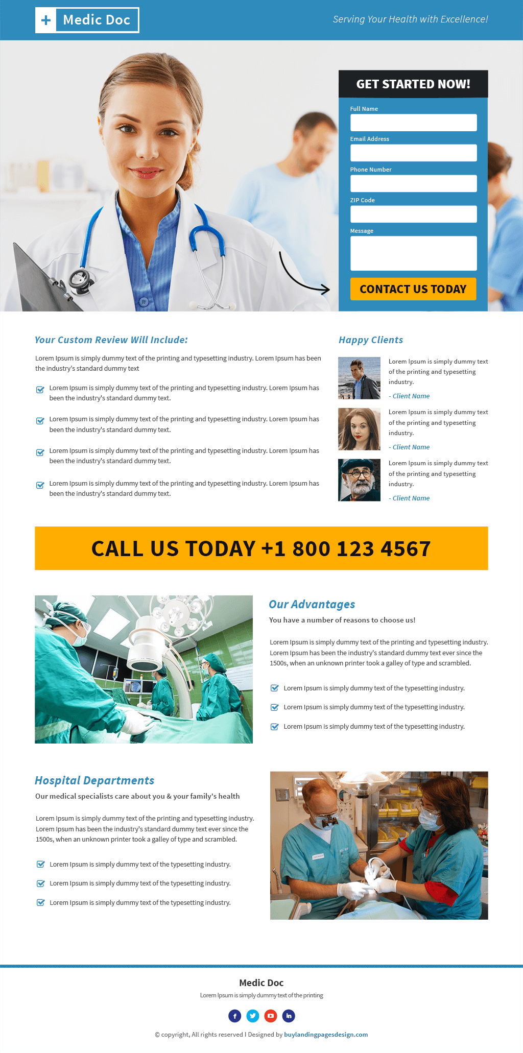 Best Responsive Medical Doctor Template Buy Landing Pages Design - Medical landing page template