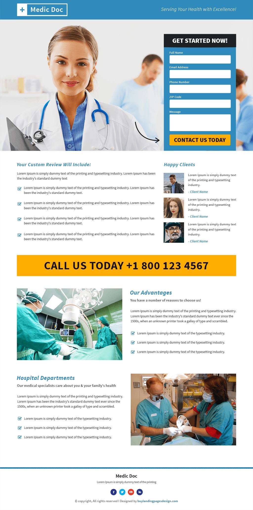 Responsive Medical Doctor Landing Pages Design Template