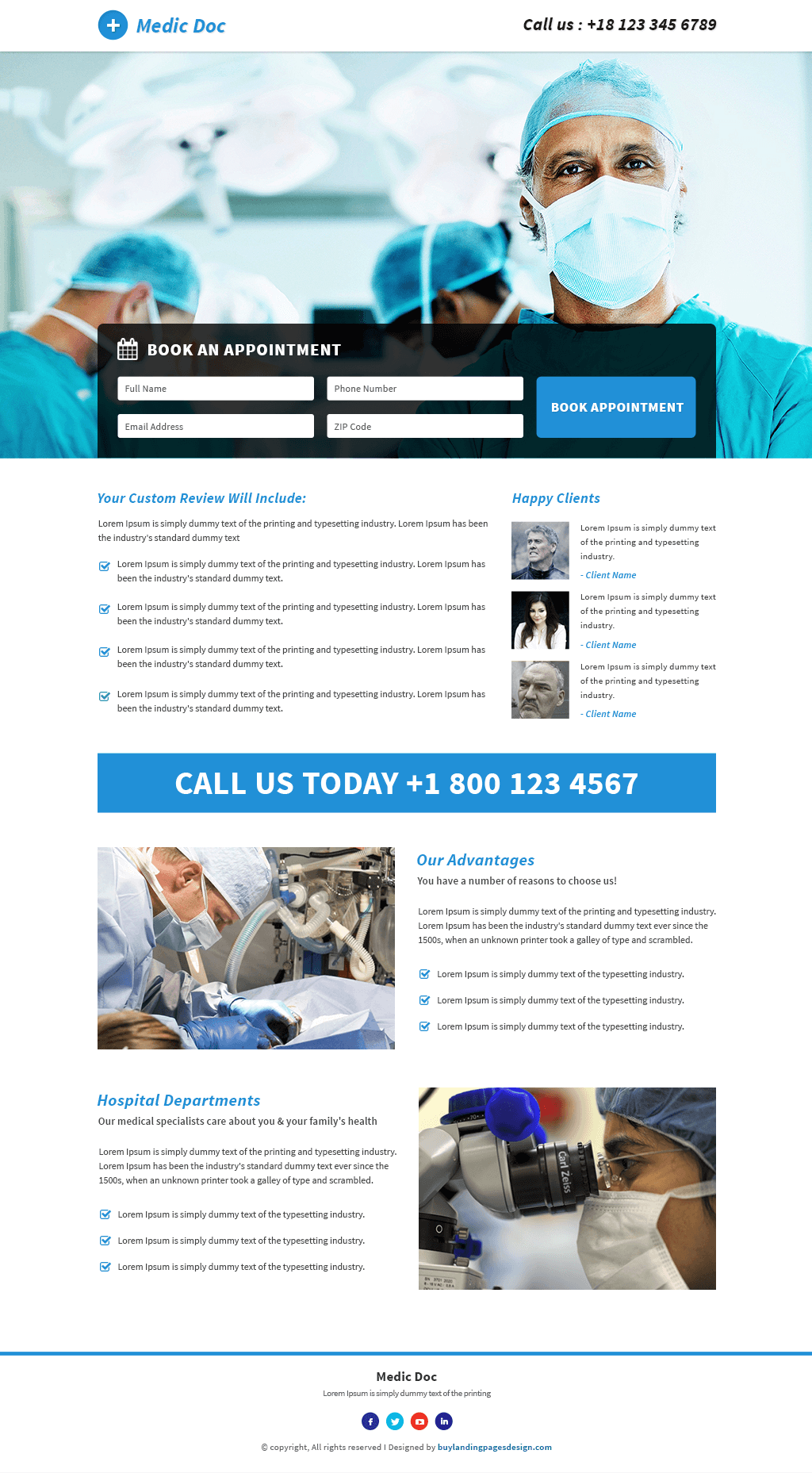 Responsive Doctor Medical Landing Page Template