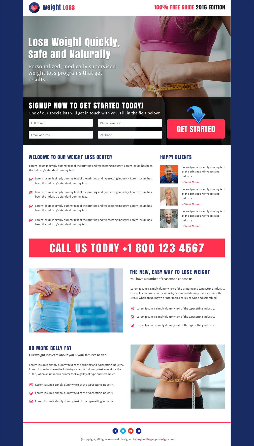 Responsive Weight Loss Service Landing Page Design Template
