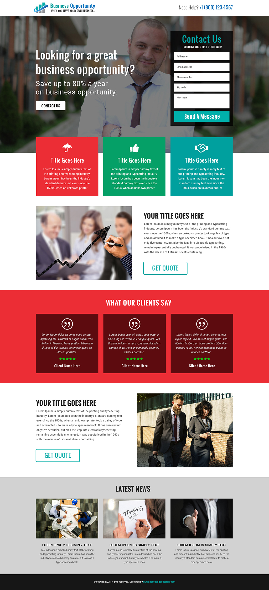 Best business opportunity responsive landing page