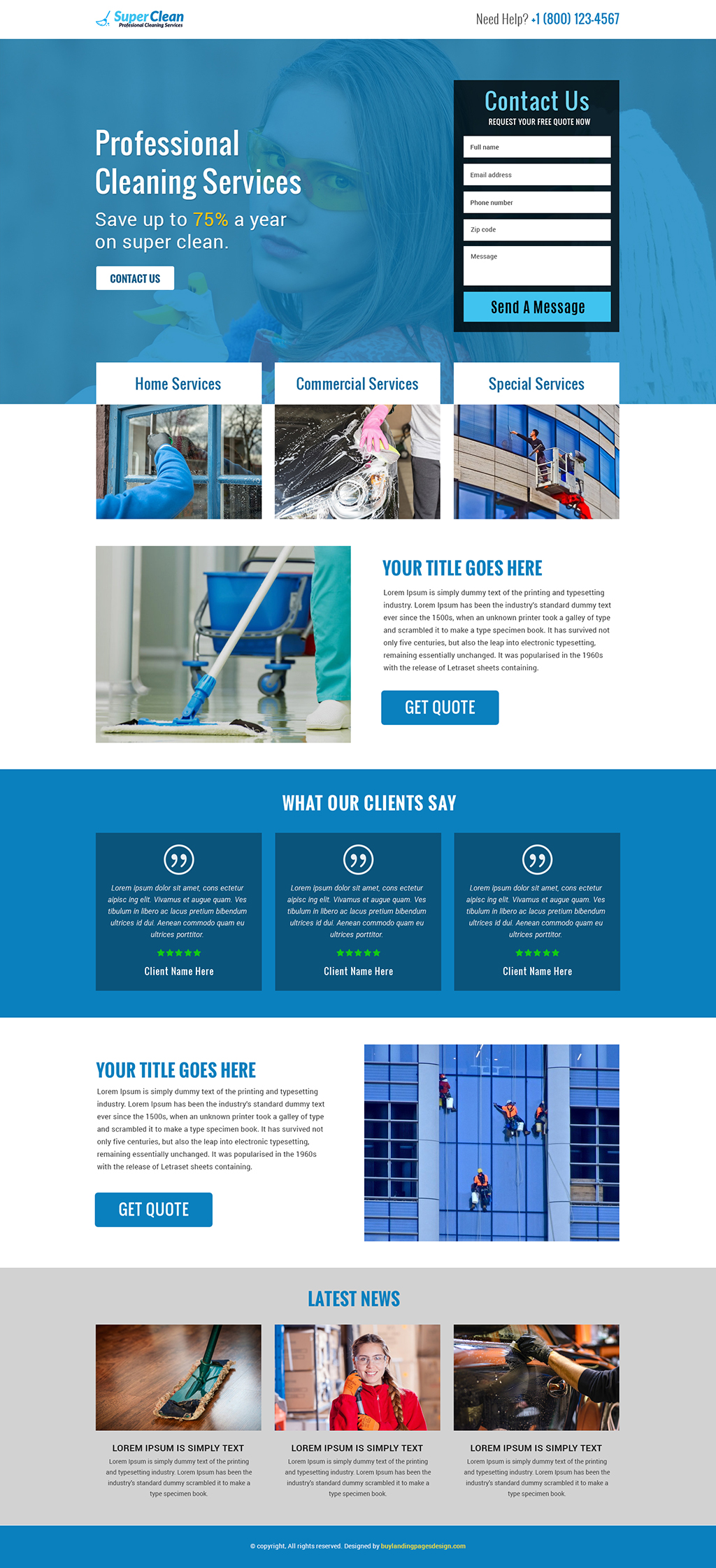 Professional super cleaning services responsive landing page design template