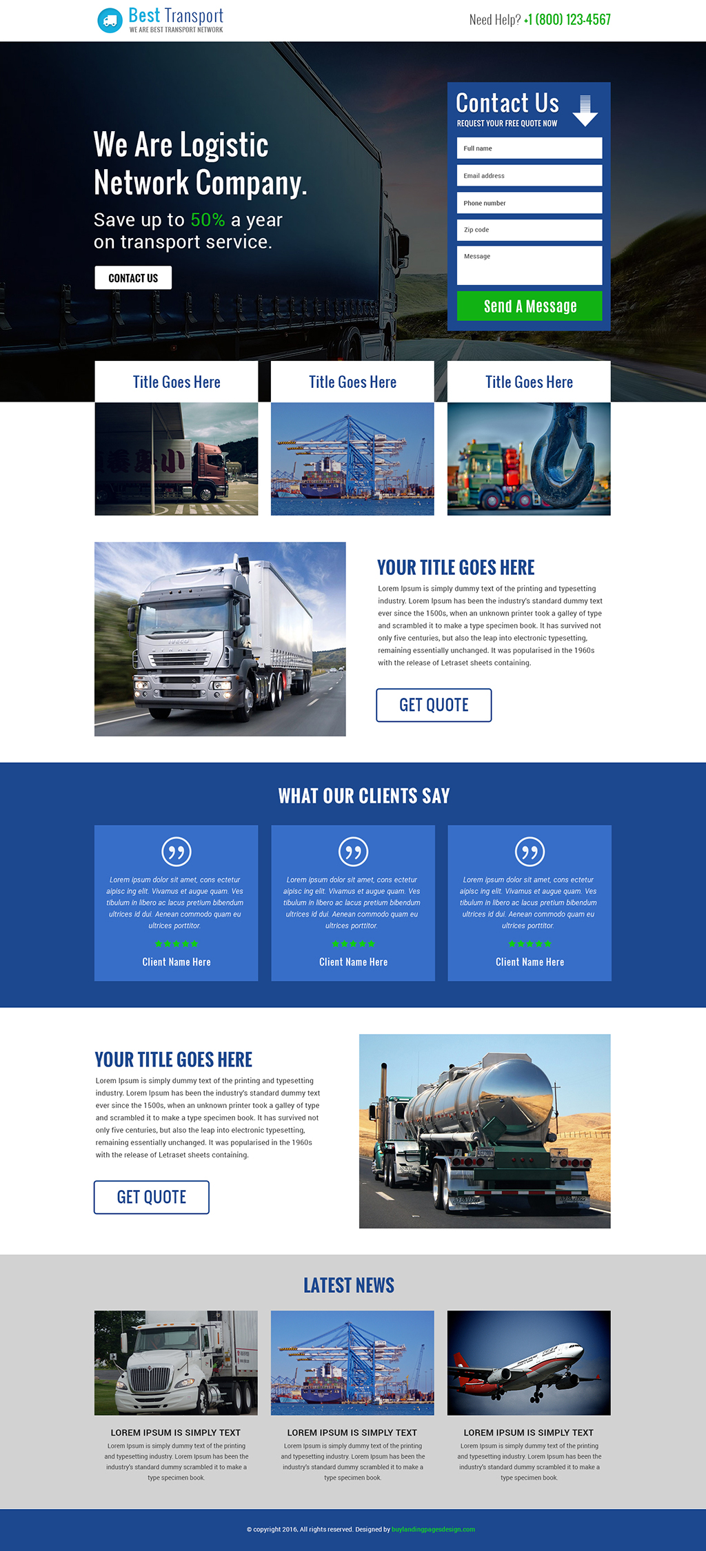 Responsive Logistic service and transport service landing page