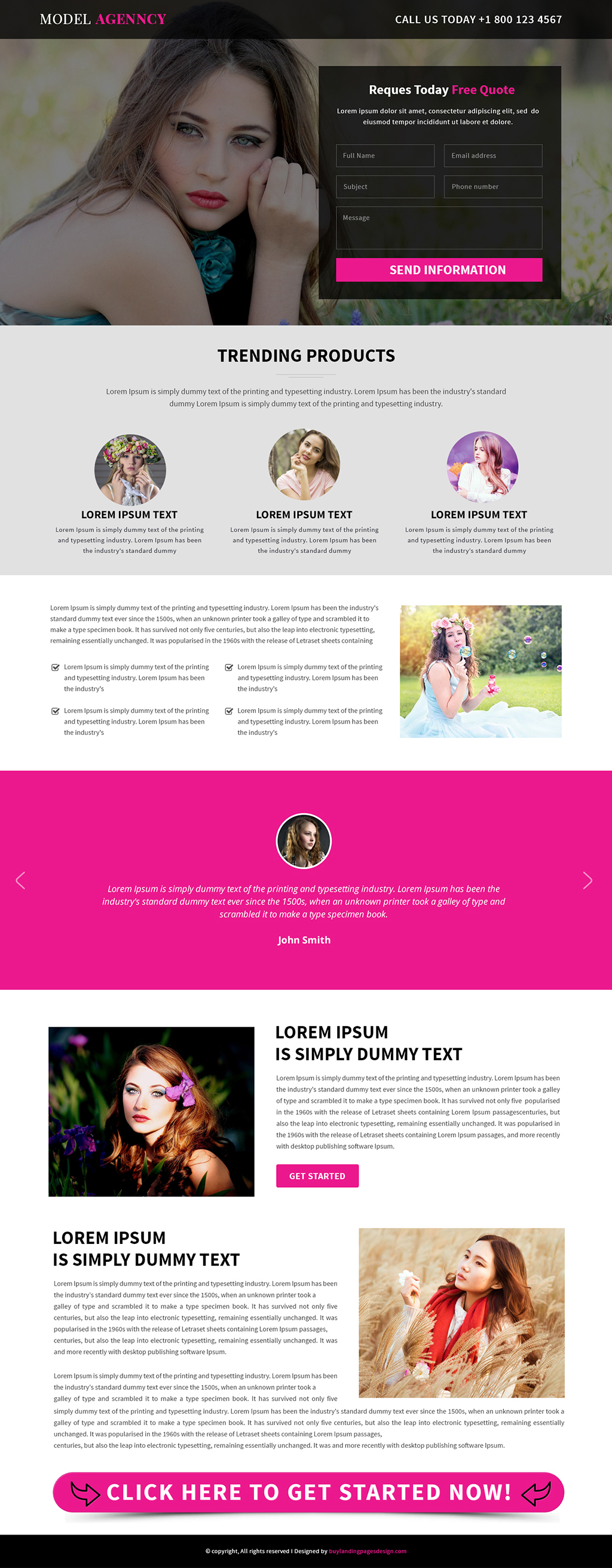 Model Agency landing Page